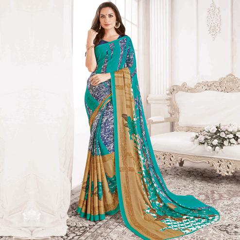 Exceptional Blue Colored Casual Printed Georgette Saree
