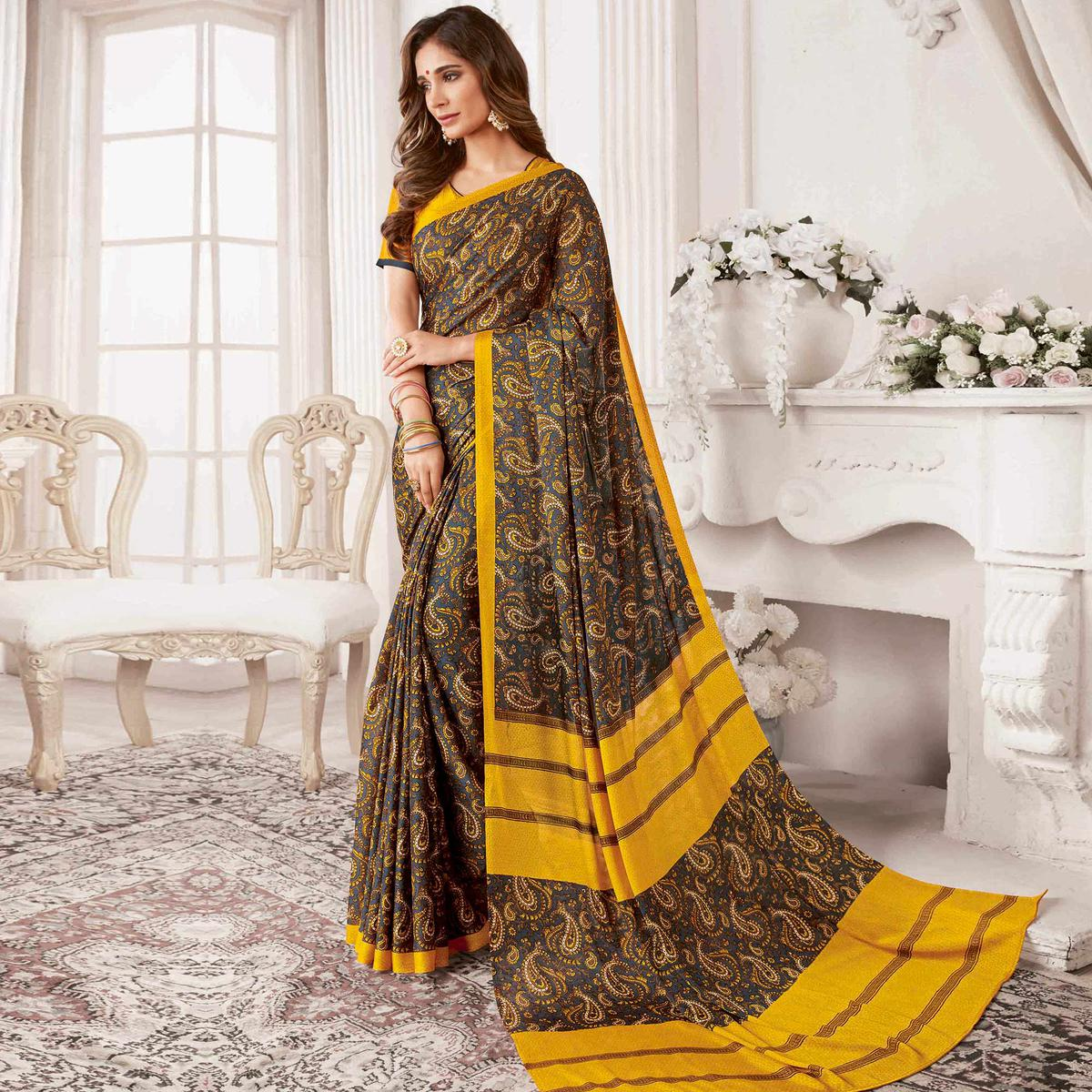 Excellent Dark Grey & Yellow Colored Casual Printed Georgette Saree