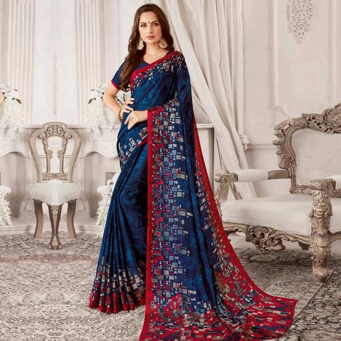 Ethnic Navy Blue Colored Casual Printed Georgette Saree