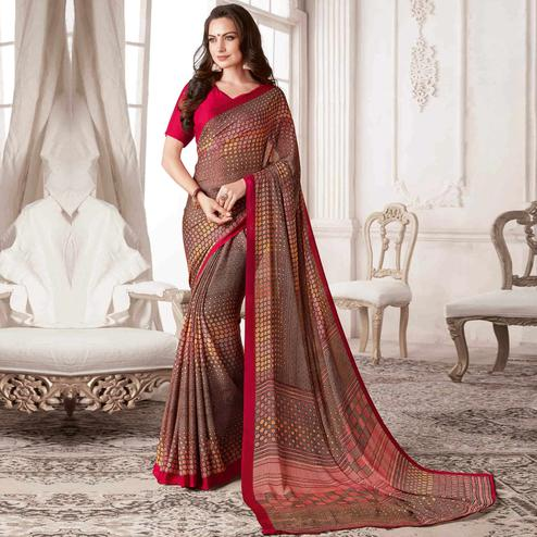 Entrancing Brown Colored Casual Printed Georgette Saree