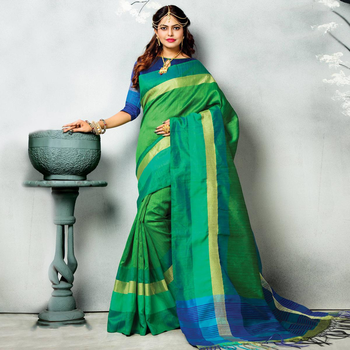 Green Big Border Ghicha Silk Saree