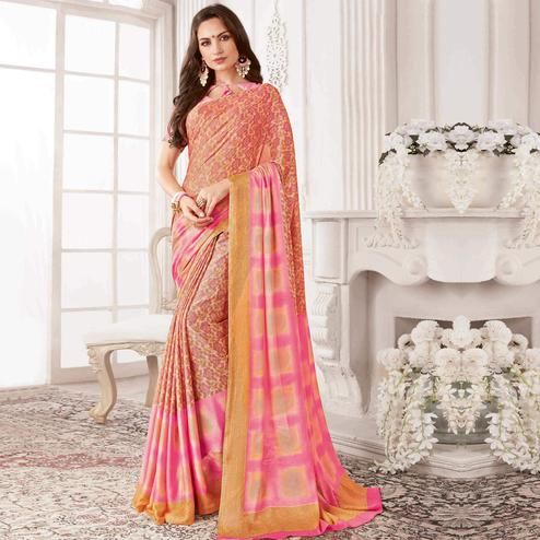 Blissful Peach & Pink Colored Casual Printed Georgette Saree