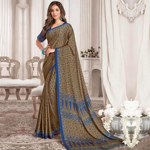 Engrossing Military Green Colored Casual Printed Georgette Saree