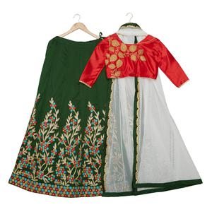 Radiant Bottle Green-Red Colored Party Wear Embroidered Banglori Silk Lehenga