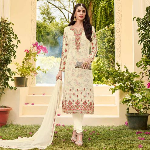 Adorable Cream Colored Party Wear Embroidered Georgette Salwar Suit