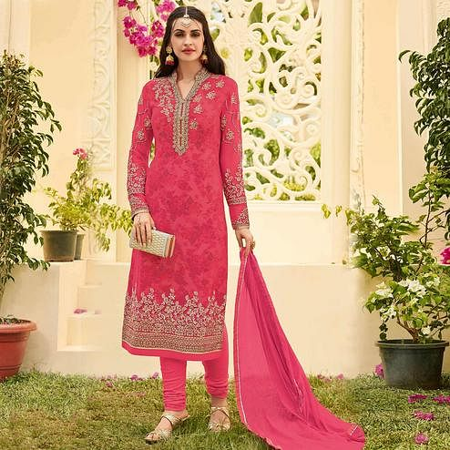 Attractive Dark Pink Colored Party Wear Embroidered Georgette Salwar Suit