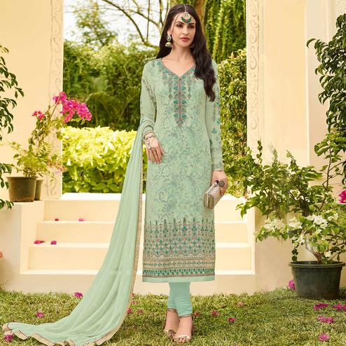 Beautiful Pastel Green Colored Party Wear Embroidered Georgette Salwar Suit