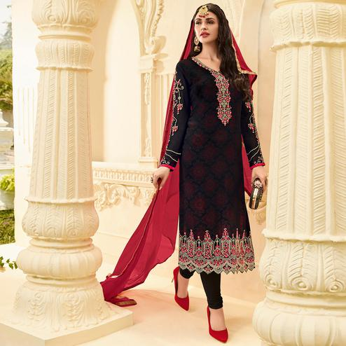 Gorgeous Black Colored Party Wear Embroidered Georgette Salwar Suit