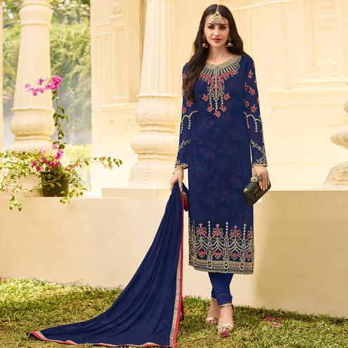Glorious Blue Colored Party Wear Embroidered Georgette Salwar Suit