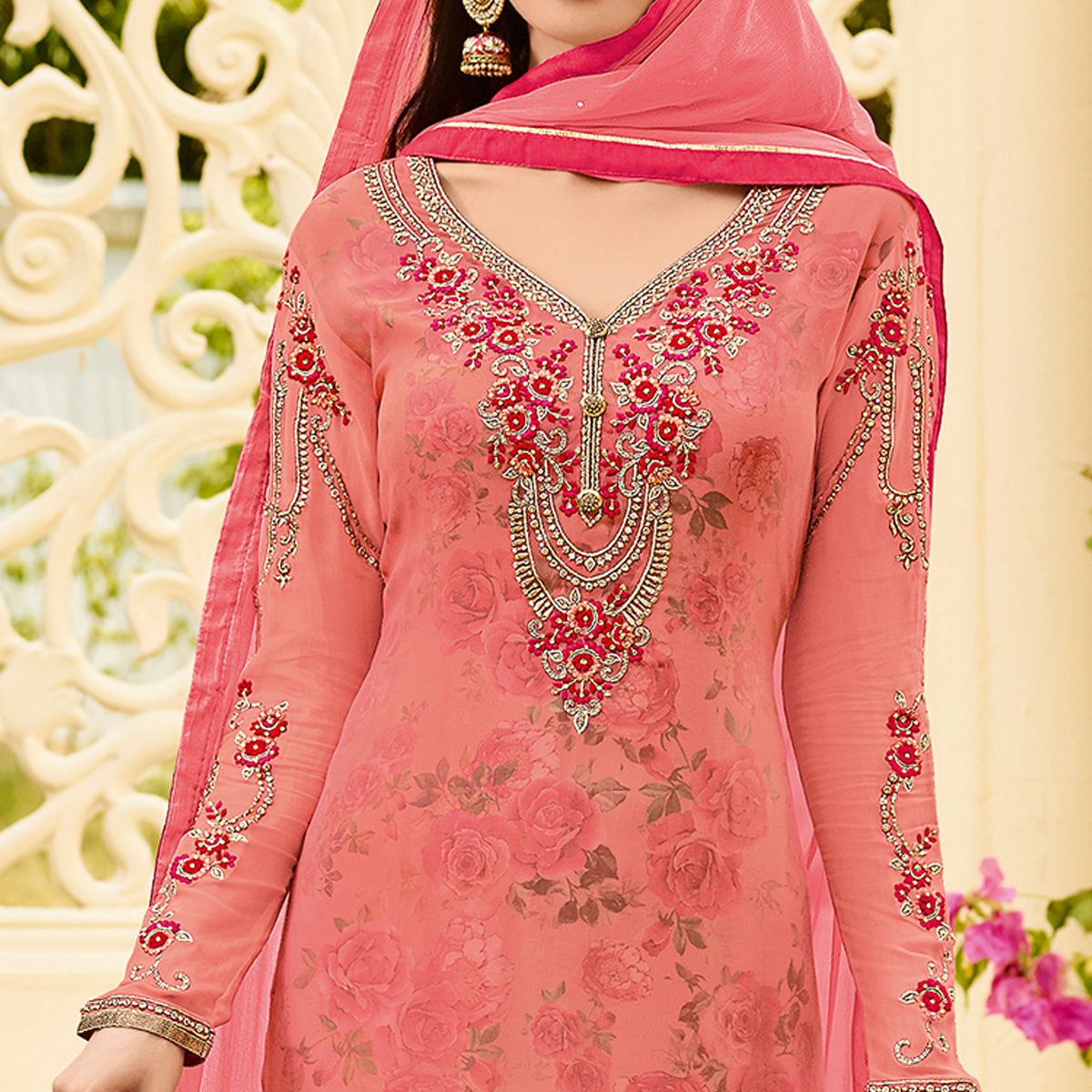 Graceful Pink Colored Party Wear Embroidered Georgette Salwar Suit