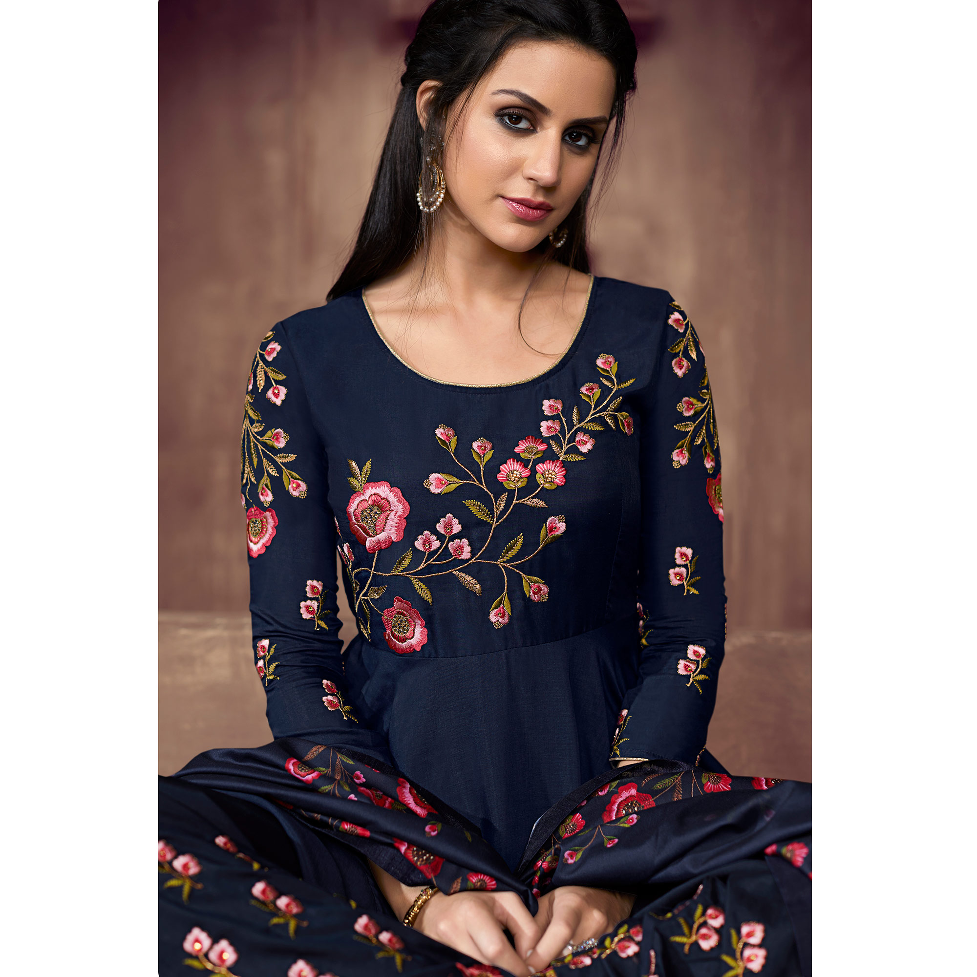 Intricate Navy Blue Colored Party Wear Embroidered Cotton Palazzo Suit