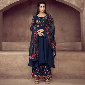Intricate Navy Blue Colored Party Wear Embroidered Heavy Muslin Palazzo Suit