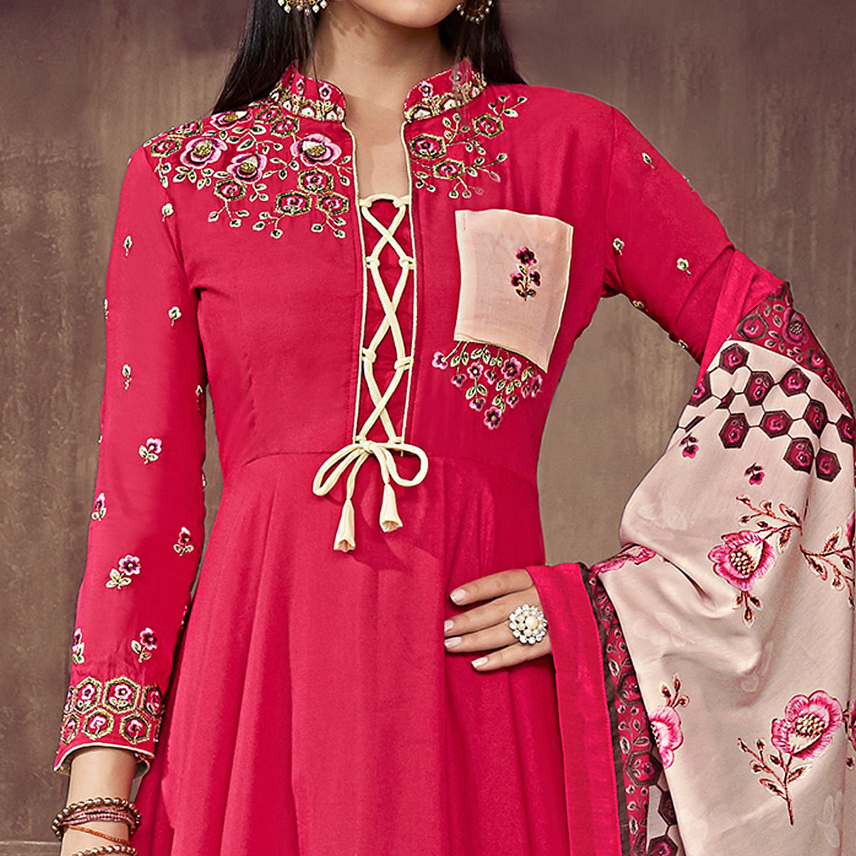 Desirable Pink Colored Party Wear Embroidered Heavy Muslin Palazzo Suit
