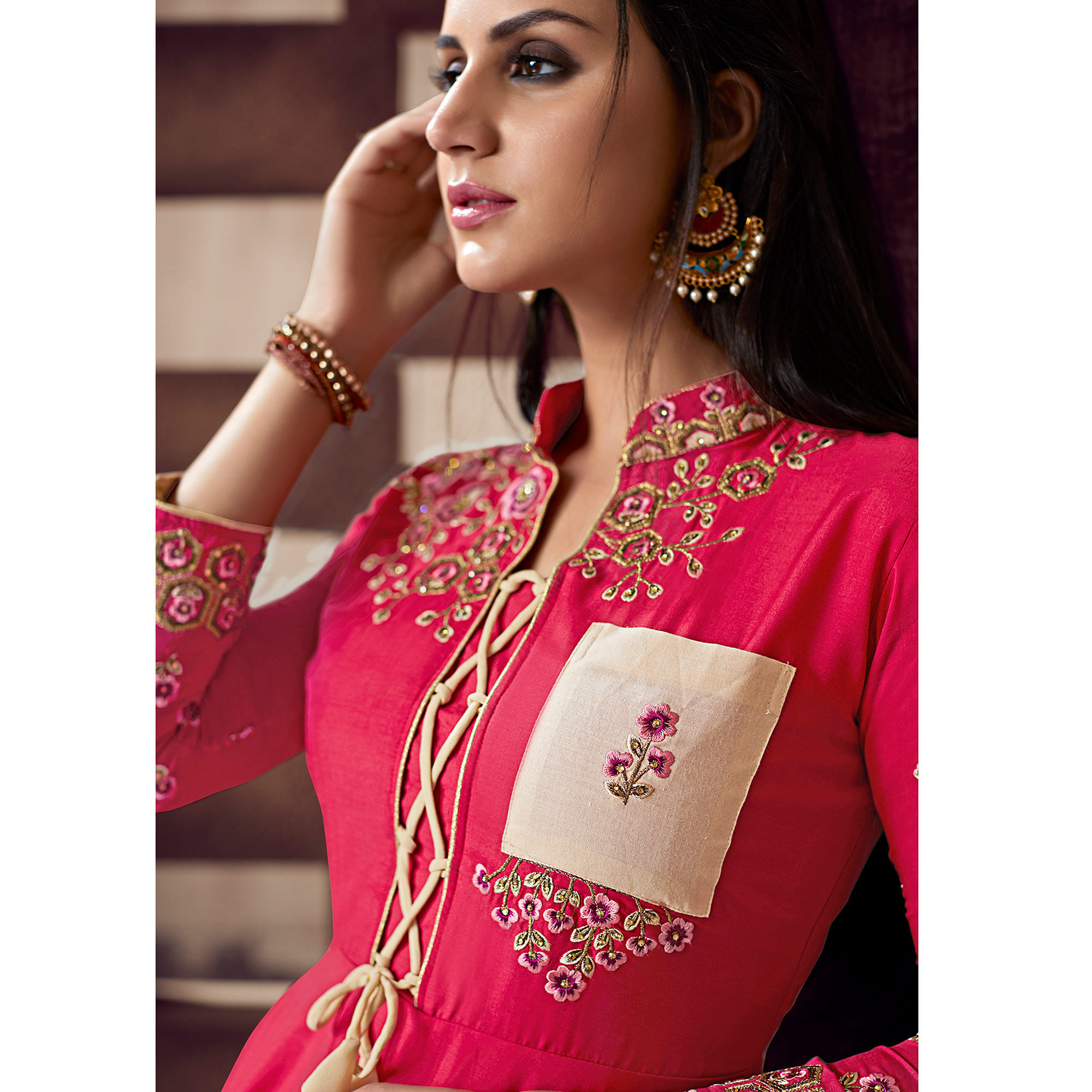 Desirable Pink Colored Party Wear Embroidered Cotton Palazzo Suit