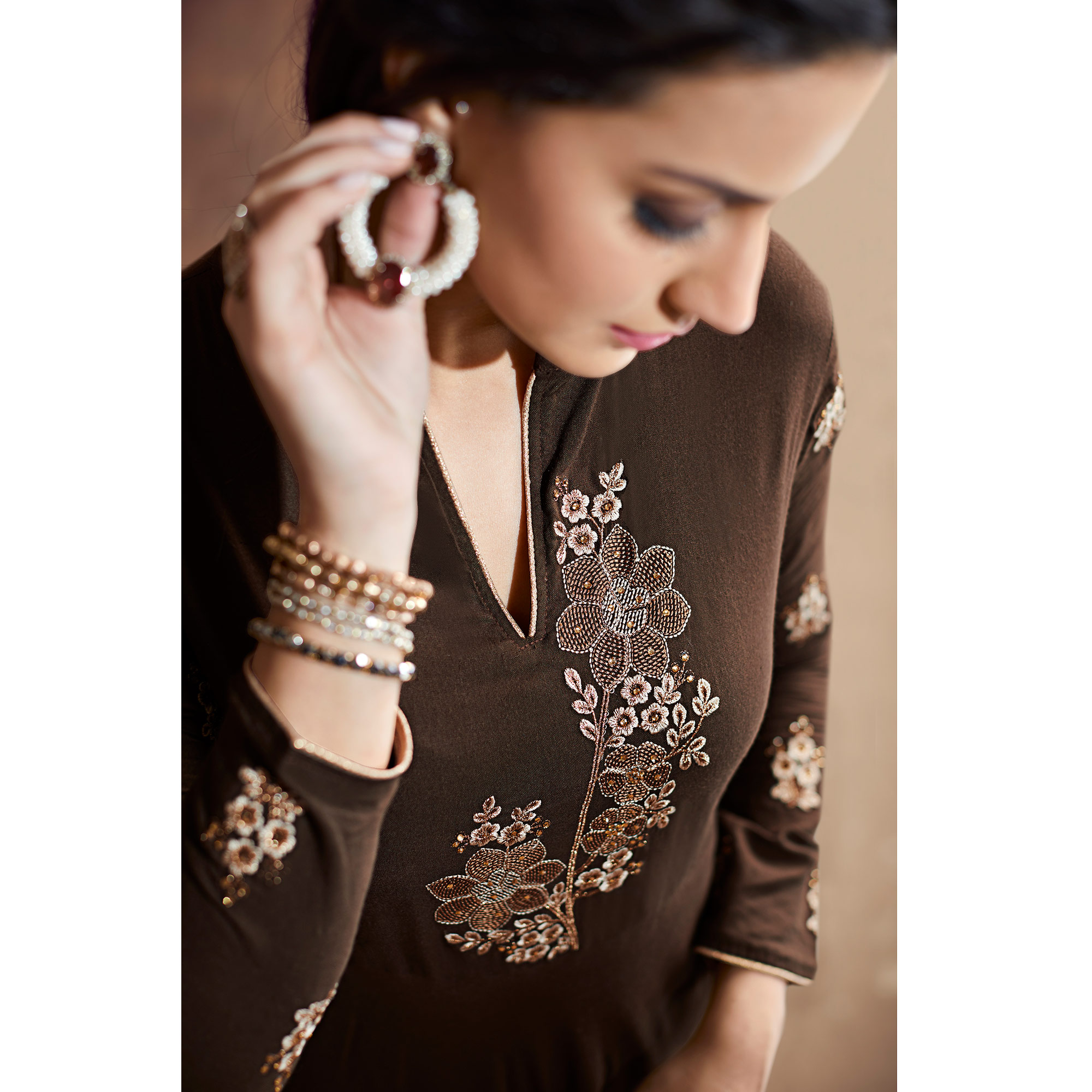 Appealing Coffee Colored Party Wear Embroidered Heavy Muslin Palazzo Suit