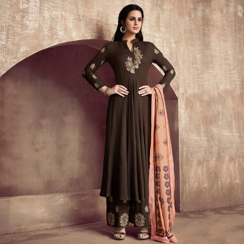 Appealing Coffee Colored Party Wear Embroidered Cotton Palazzo Suit