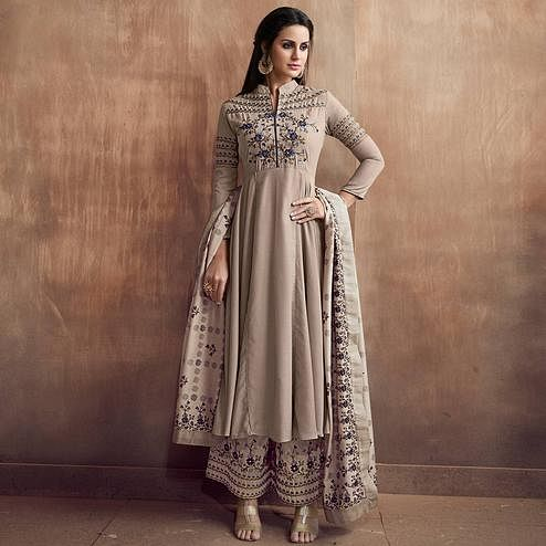 Groovy Beige Colored Party Wear Embroidered Cotton Palazzo Suit