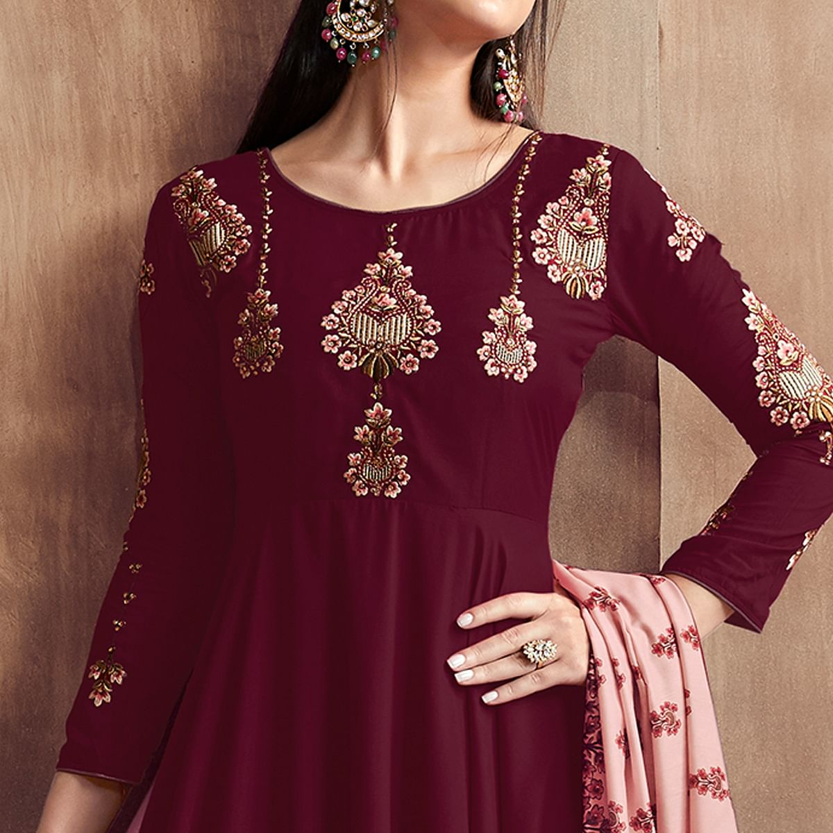 Prominent Wine Colored Party Wear Embroidered Heavy Muslin Palazzo Suit