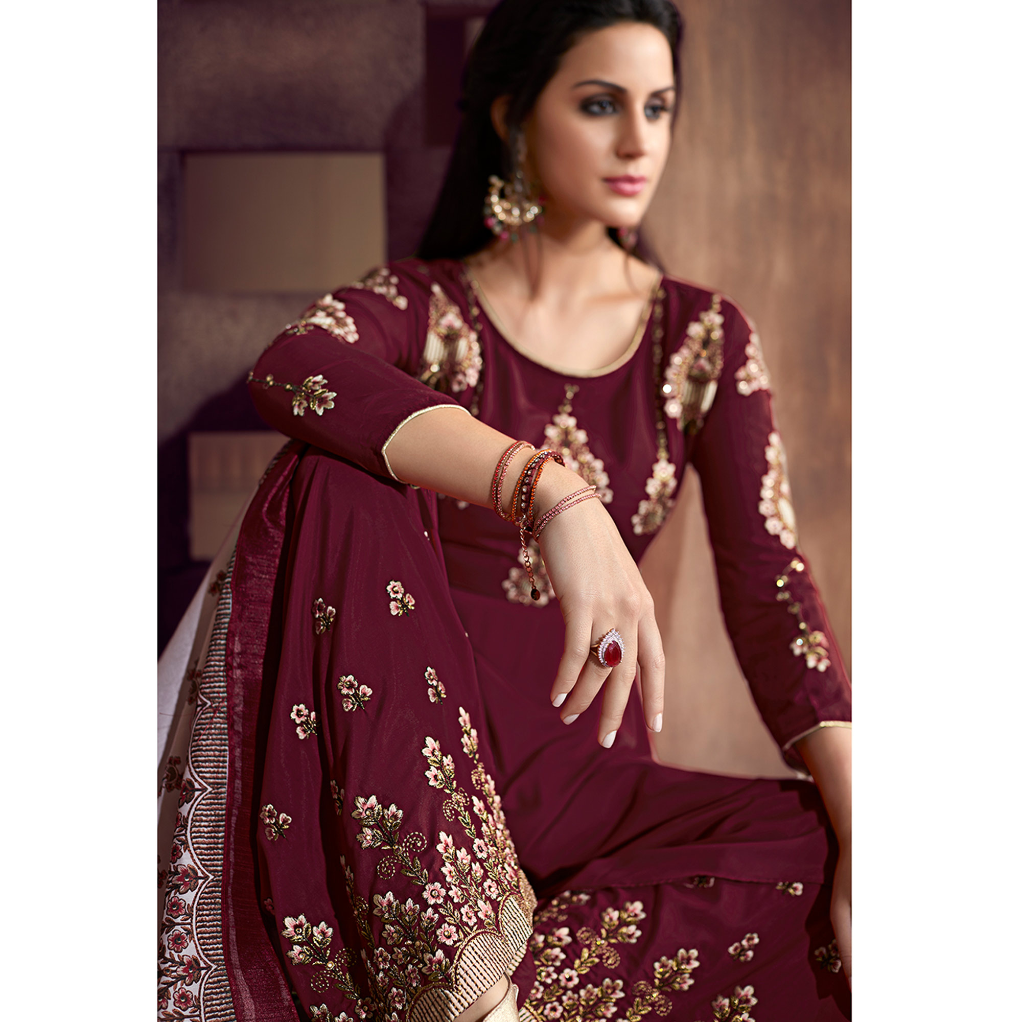 Prominent Wine Colored Party Wear Embroidered Cotton Palazzo Suit