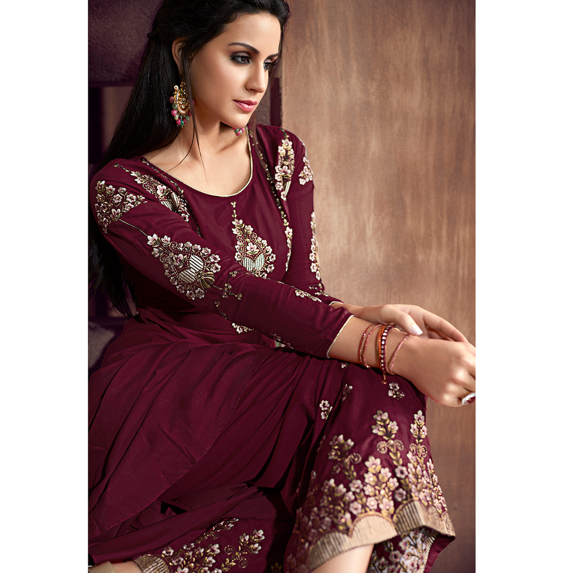 234486b0d1 Prominent Wine Colored Party Wear Embroidered Heavy Muslin Palazzo Suit