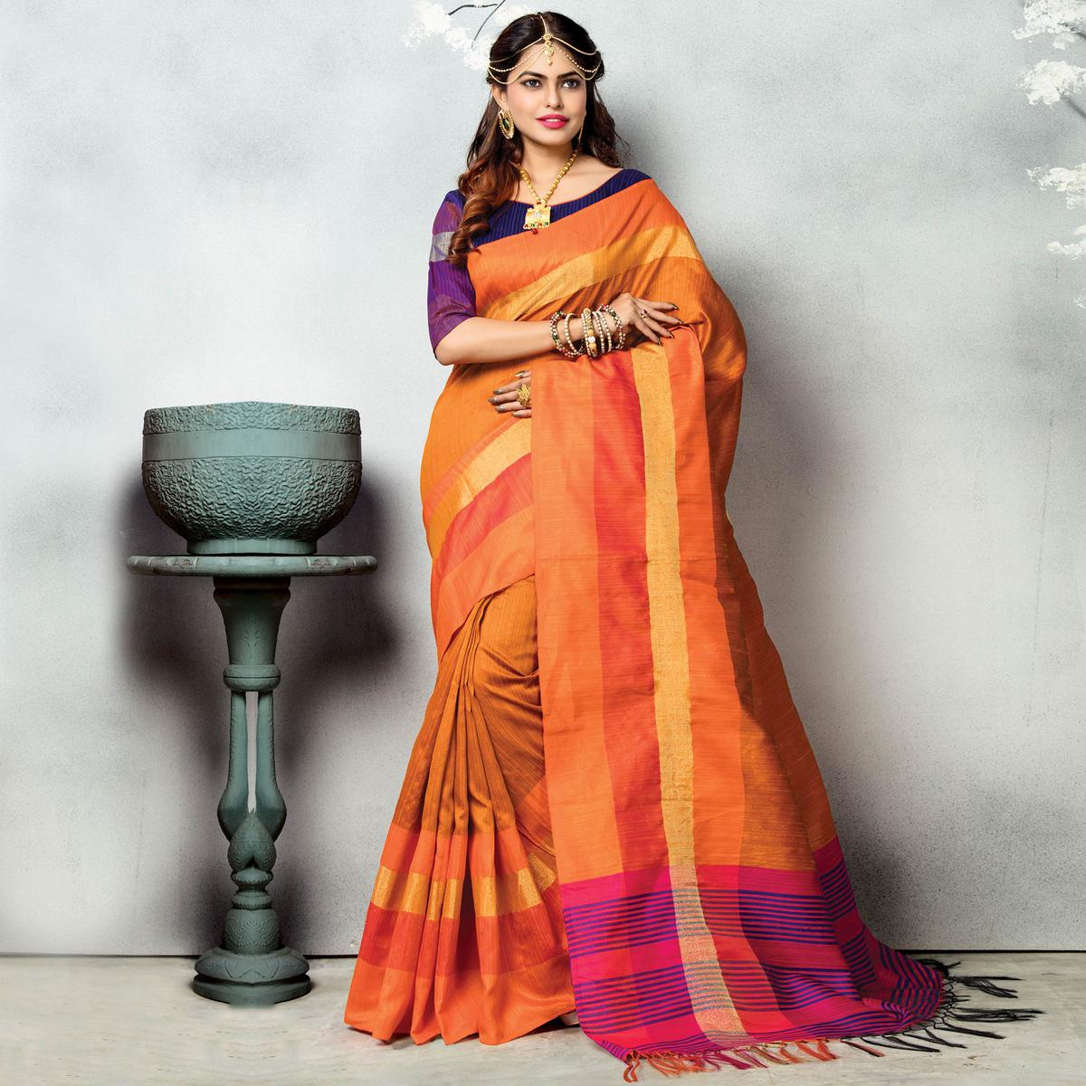Orange - Purple Festive Wear Ghicha Silk Saree