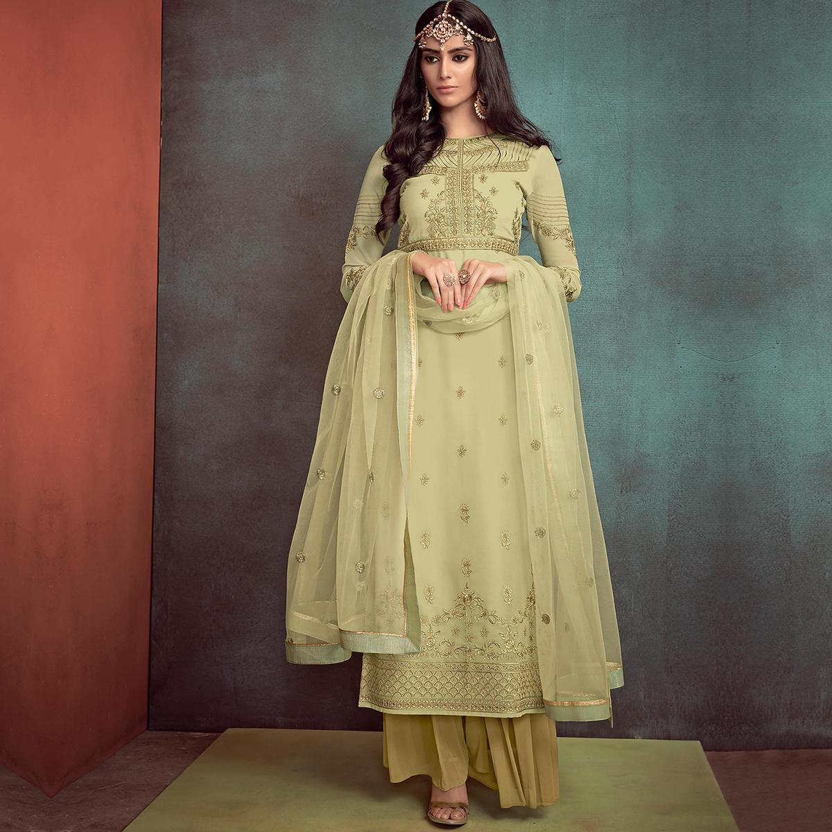 Appealing Light Olive Green Colored Party Wear Embroidered Georgette Palazzo Suit