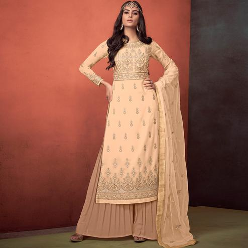Groovy Cream Colored Party Wear Embroidered Georgette Palazzo Suit