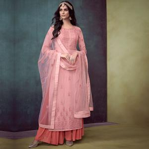 Prominent Pink Colored Party Wear Embroidered Georgette Palazzo Suit