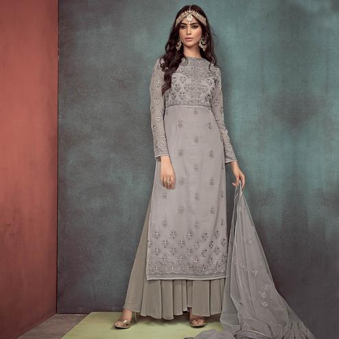 Capricious Grey Colored Party Wear Embroidered Georgette Palazzo Suit