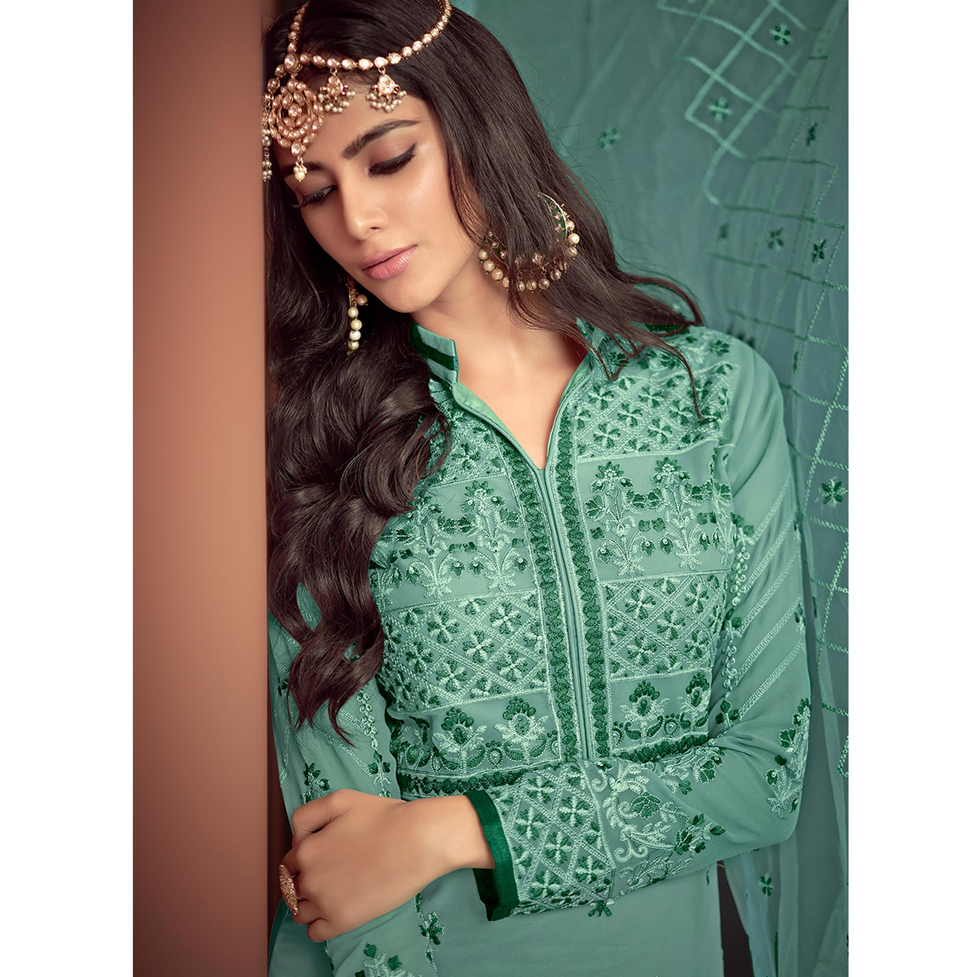 Jazzy Green Colored Party Wear Embroidered Georgette Palazzo Suit