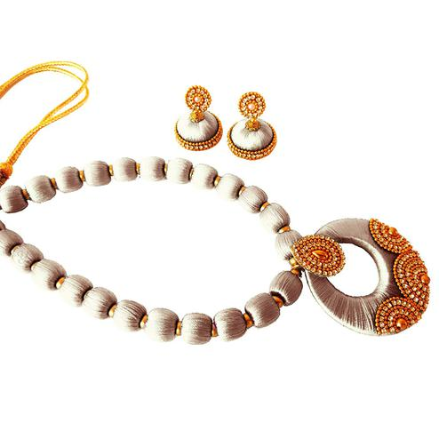Beautiful White Colored Stone Work Resham Thread Necklace Set