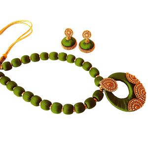 Gorgeous Olive Green Colored Stone Work Resham Thread Necklace Set