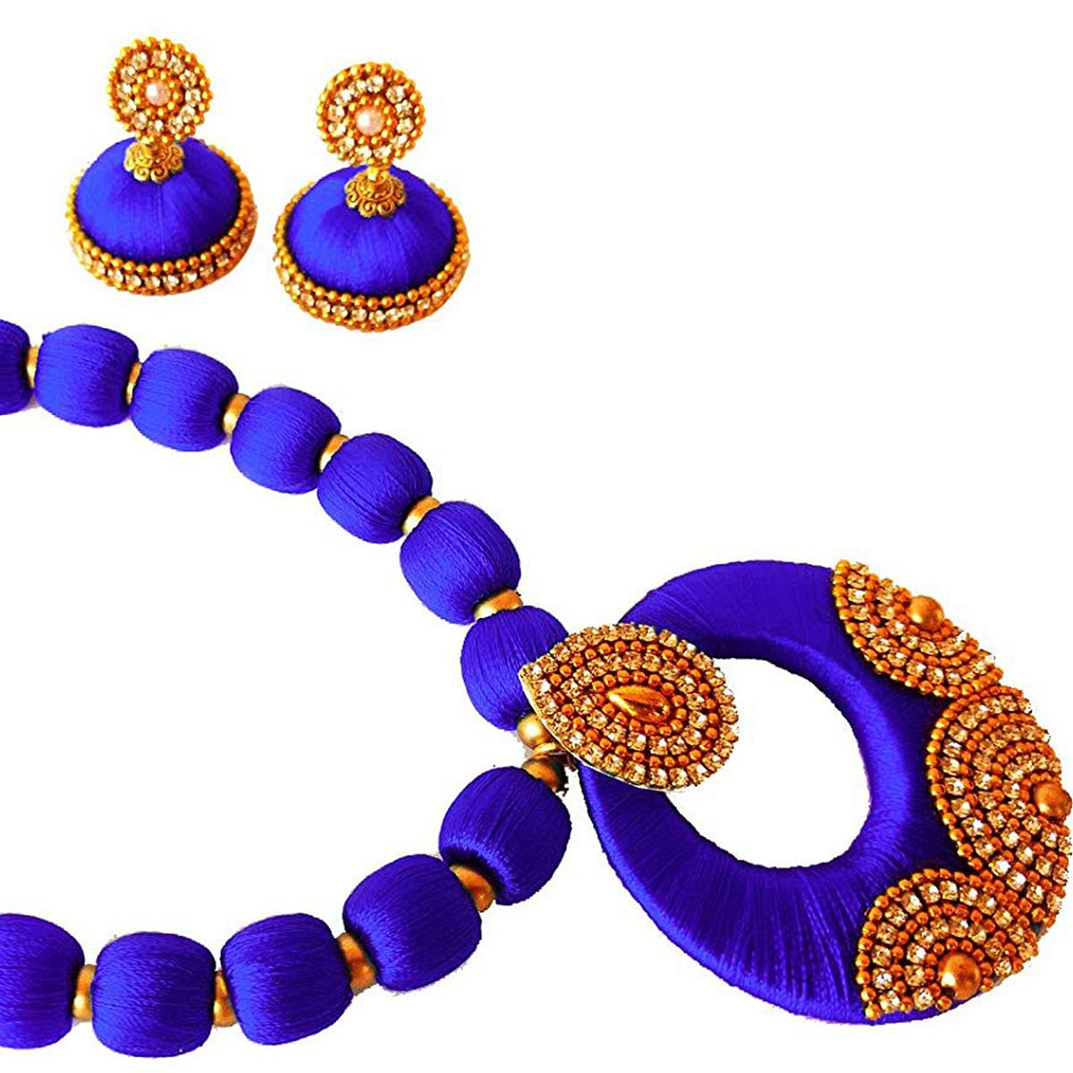 Classy Violet Colored Stone Work Resham Thread Necklace Set