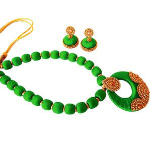 Glorious Green Colored Stone Work Resham Thread Necklace Set