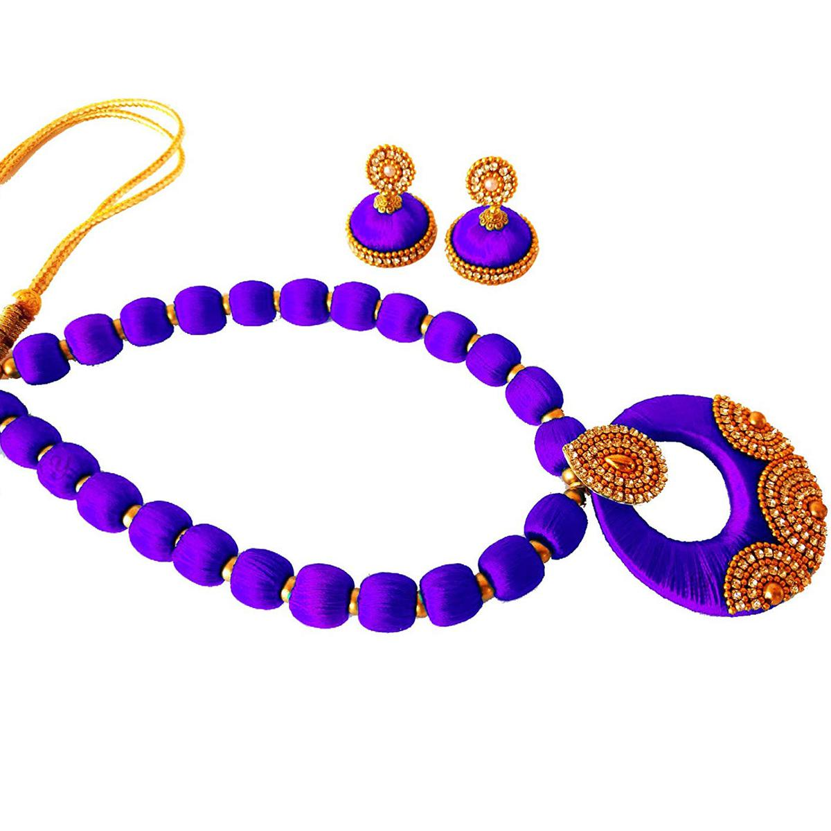 Graceful Light Purple Colored Stone Work Resham Thread Necklace Set