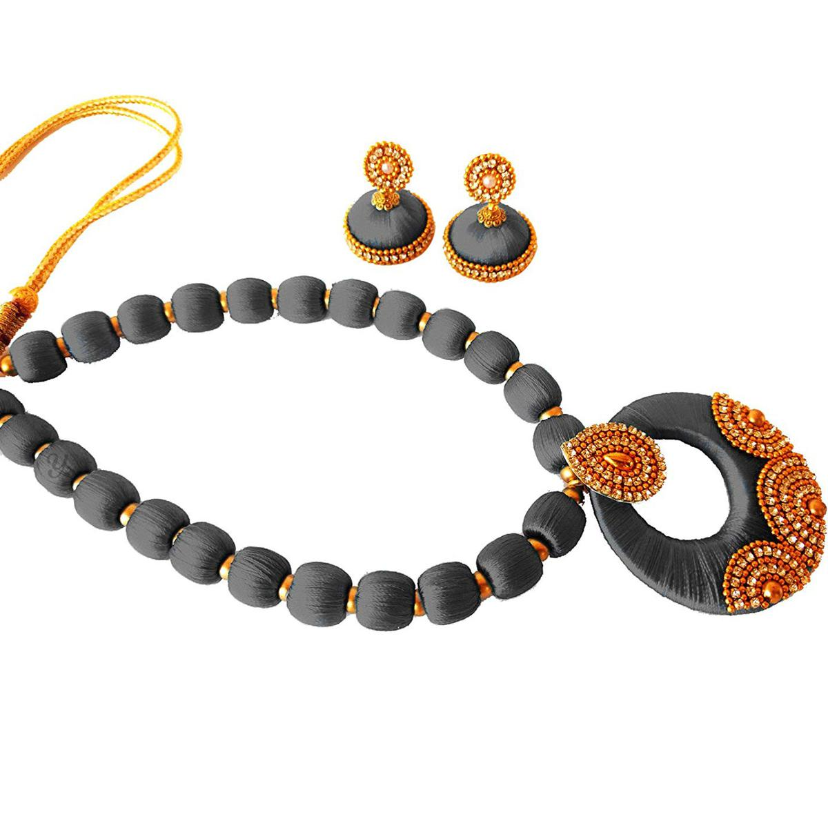 Lovely Grey Colored Stone Work Resham Thread Necklace Set