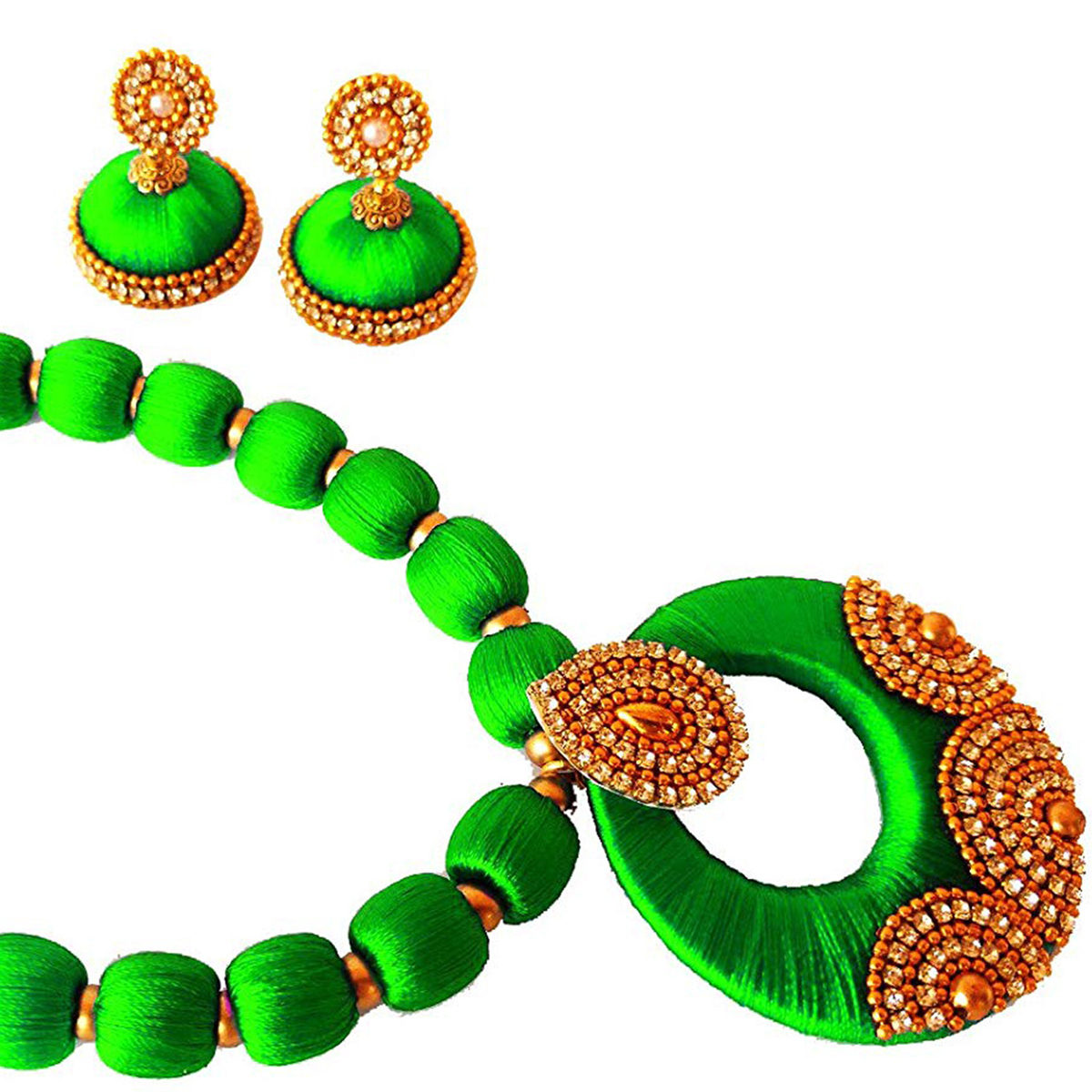 Pretty Light Green Colored Stone Work Resham Thread Necklace Set