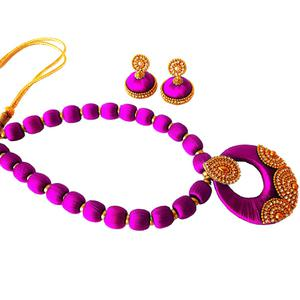 Groovy Magenta Pink Colored Stone Work Resham Thread Necklace Set