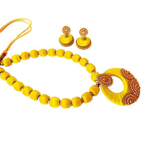 Jazzy Yellow Colored Stone Work Resham Thread Necklace Set