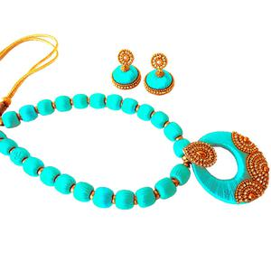 Trendy Aqua Blue Colored Stone Work Resham Thread Necklace Set