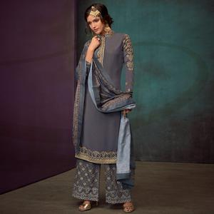 Fantastic Grey Colored Party Wear Embroidered Cotton Palazzo Suit