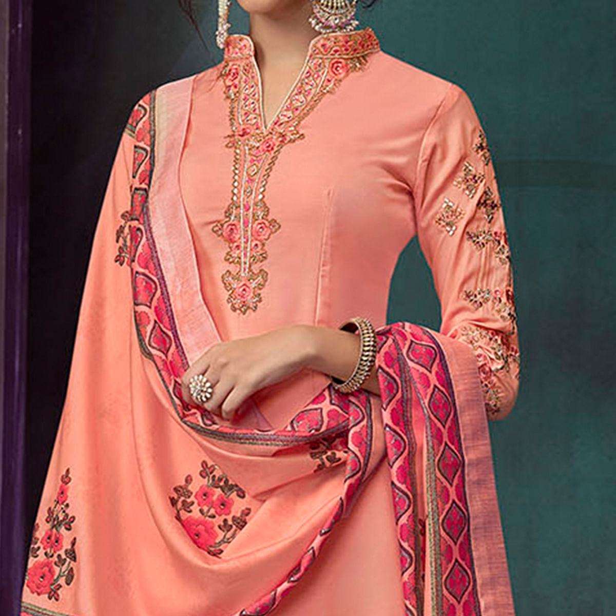 Staring Peach Colored Party Wear Embroidered Cotton Palazzo Suit