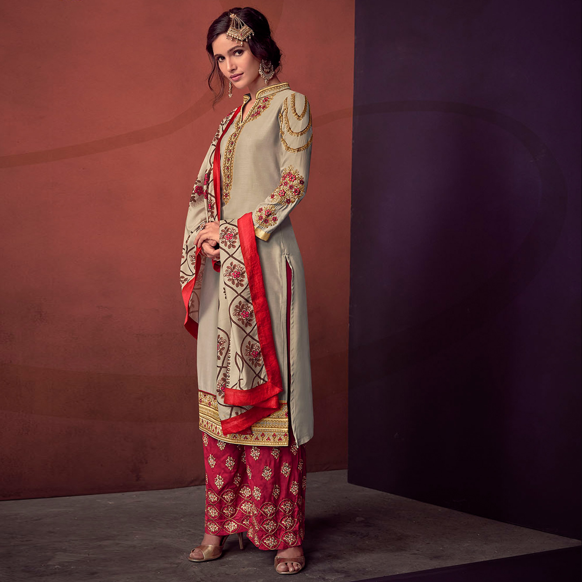 Pleasance Light Grey Colored Party Wear Embroidered Cotton Palazzo Suit