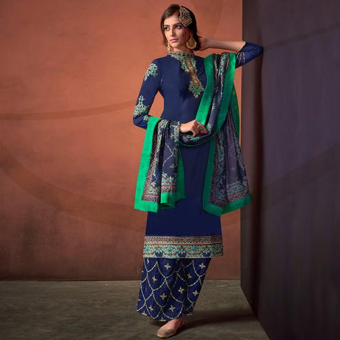 Glowing Navy Blue Colored Party Wear Embroidered Cotton Palazzo Suit