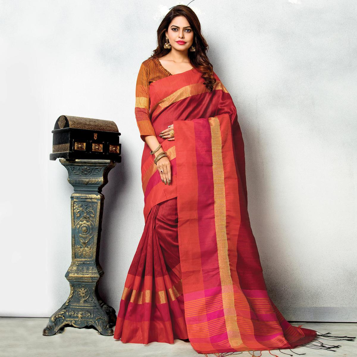 Red Traditional Wear Ghicha Silk Saree