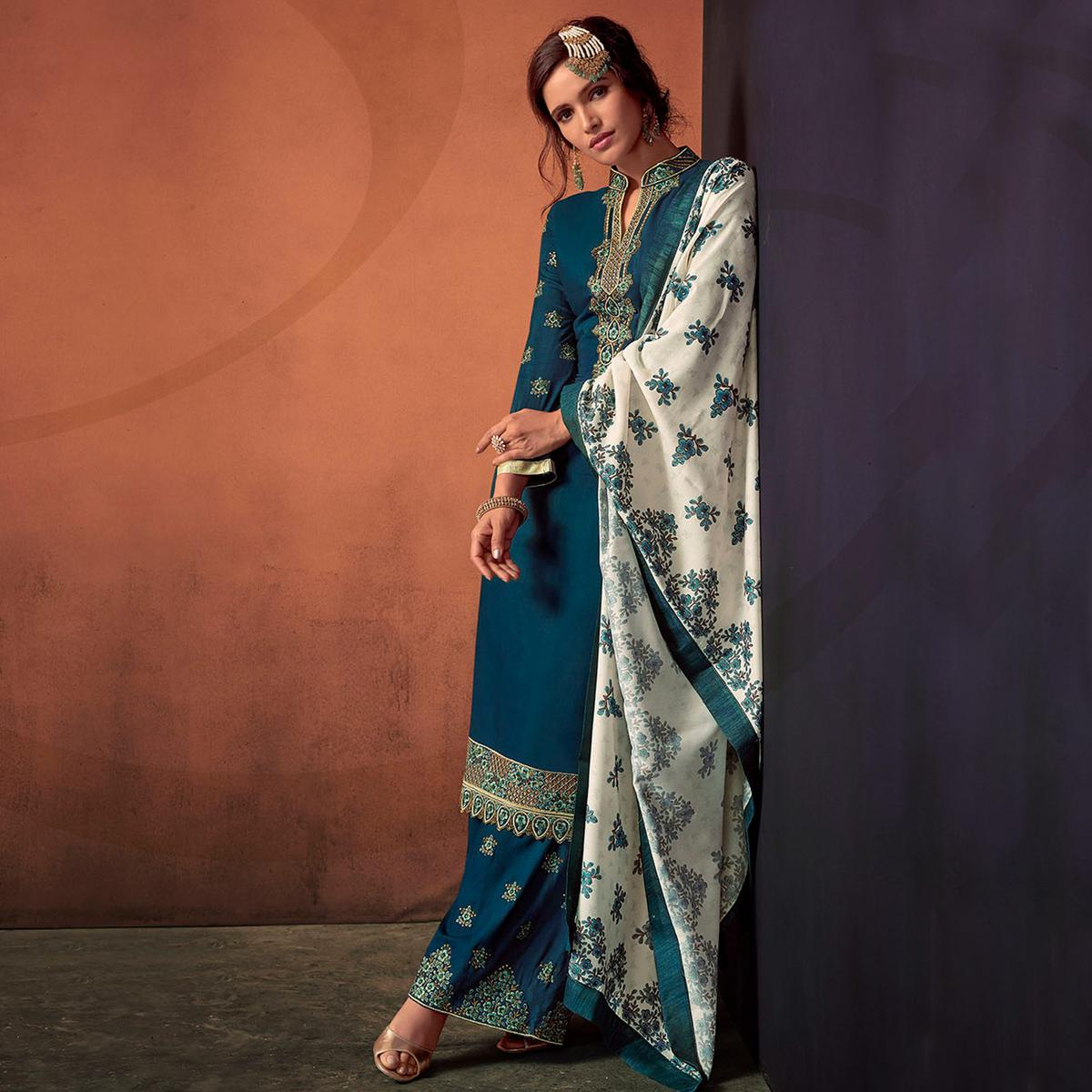 Hypnotic Teal Blue Colored Party Wear Embroidered Cotton Palazzo Suit