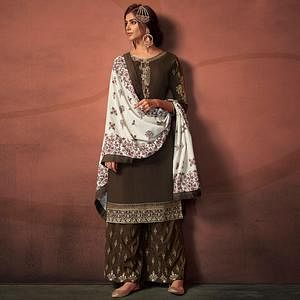 Trendy Coffee Colored Party Wear Embroidered Cotton Palazzo Suit