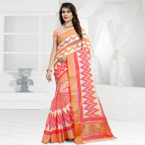 Intricate Orange & White Colored Festive Wear Printed Cotton Saree