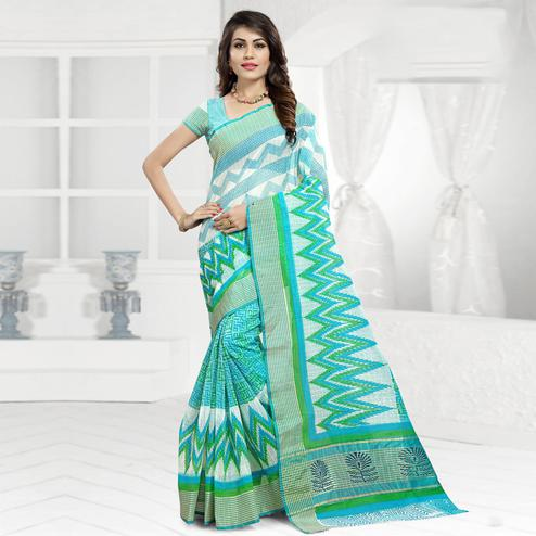 Desirable Aqua Blue & White Colored Festive Wear Printed Cotton Saree
