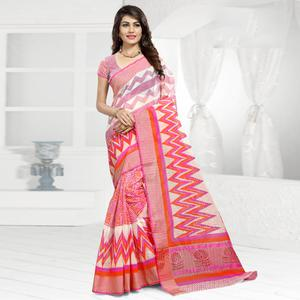 Sophisticated Pink & White Colored Festive Wear Printed Cotton Saree